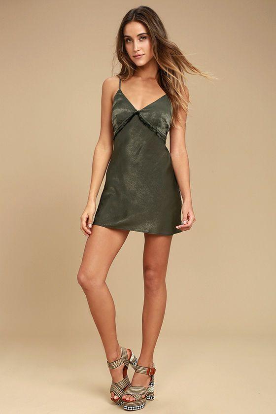5d04c92d476fd Incomparable Olive Green Satin Slip Dress | What I'd Wear | Satin ...