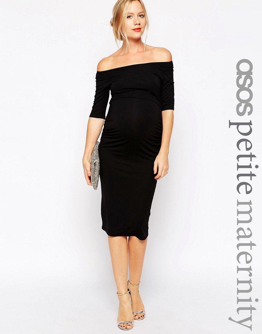 ASOS Maternity PETITE Bardot Dress With Half Sleeve at asos.com