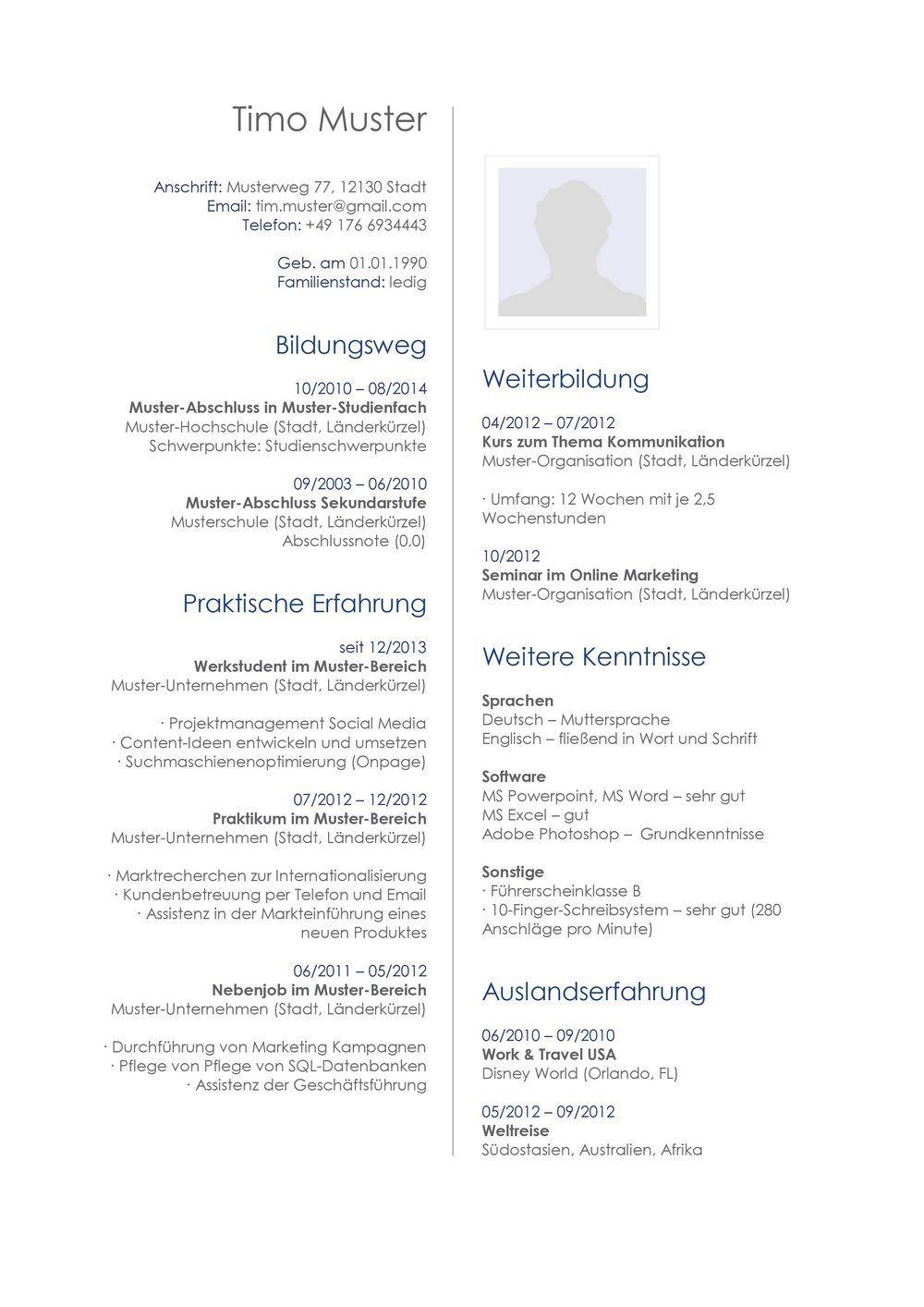 Lebenslauf Muster Vorlage 33 Architekt | Beruf | Pinterest ...