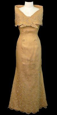 Classic Filipina Dress Called A Terno Traditionally Is Beautifully Hand Embroidered