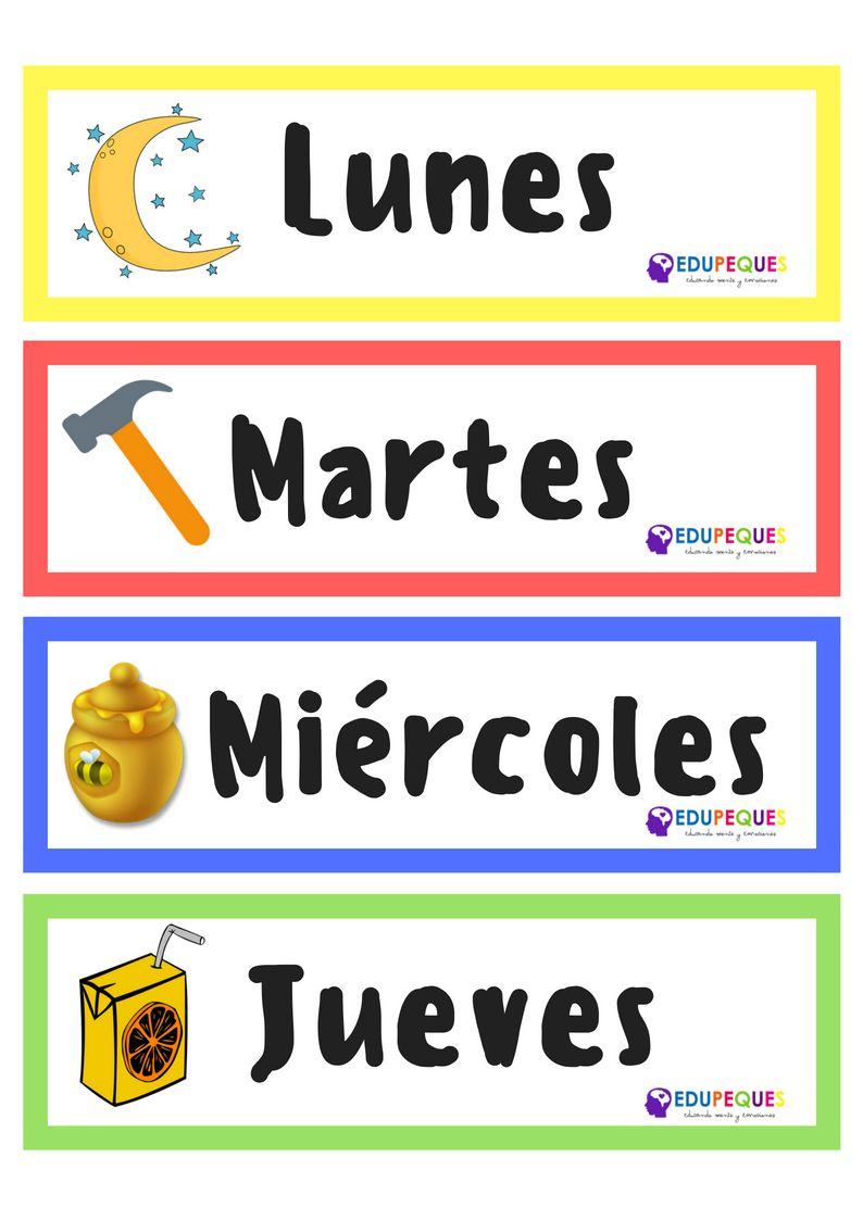 Letreros De Los Dias De La Semana Para Imprimir Preschool Classroom Education Preschool