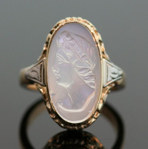 Antique Moonstone Cameo Ring