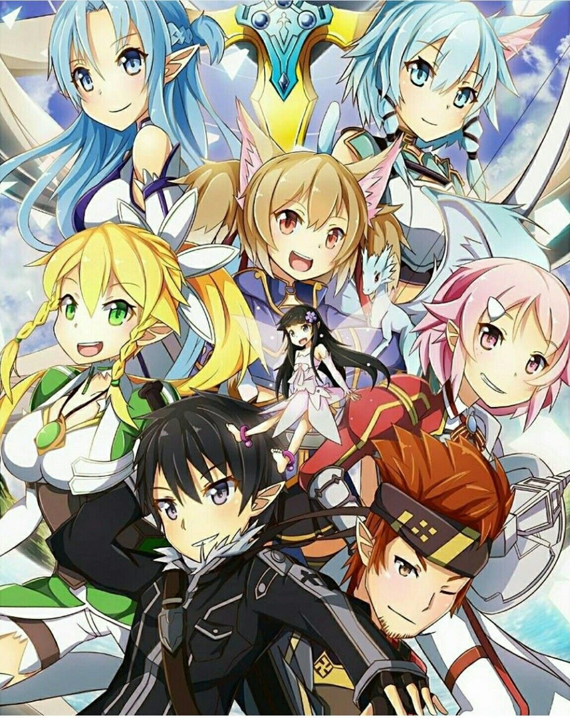 Sword Art Online Characters Lisbeth Silica Asuna Sinon Kirito Klein Yui Leafa Fairies ALO Alfheim