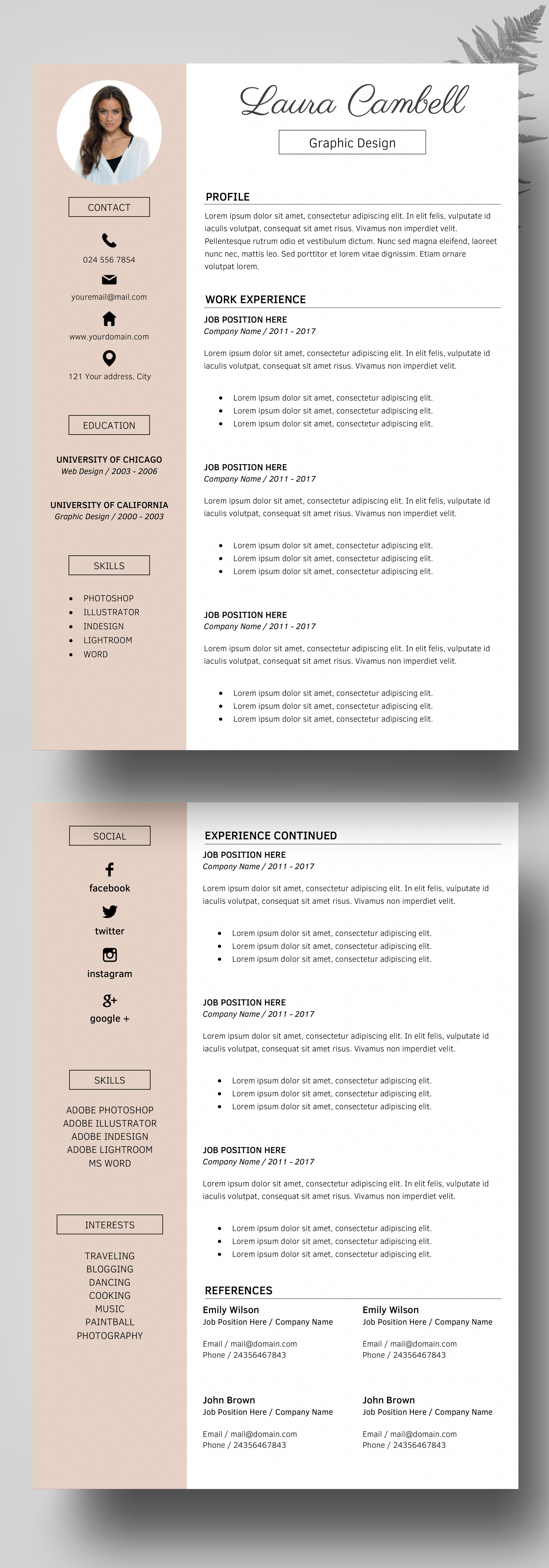 modern resume template  cv template for word  cover letter  u0026 references   icons  professional