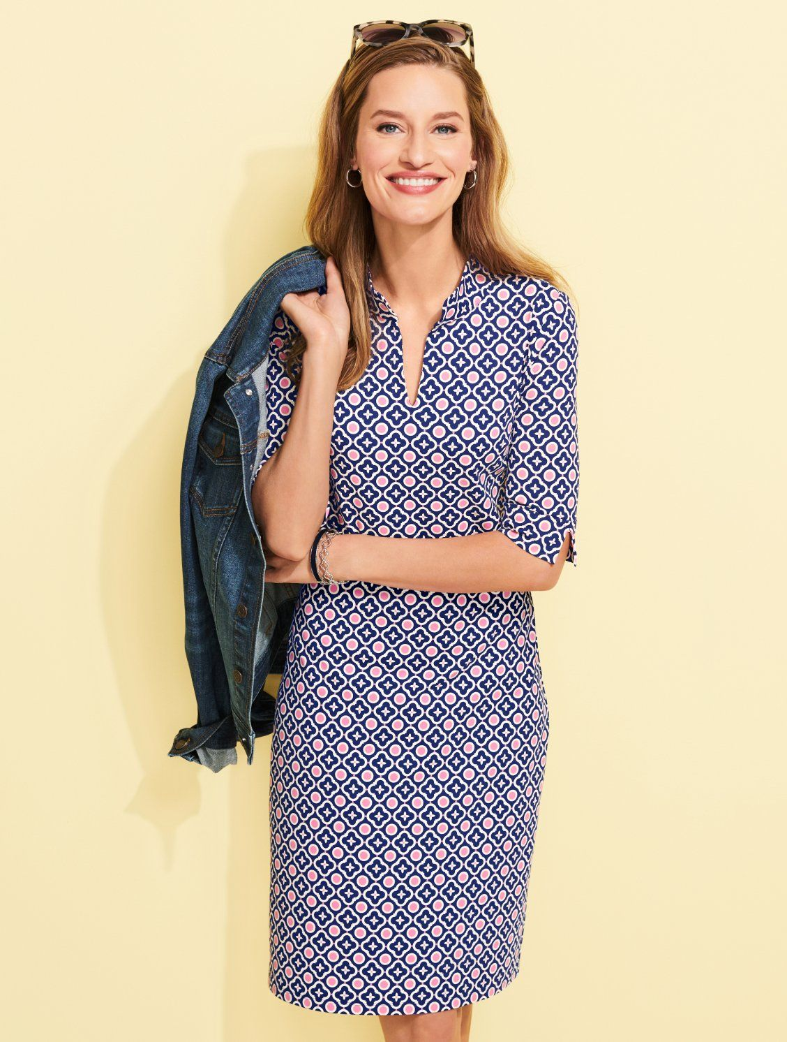 b056a785a554 This fun shift dress in a cheery geometric print is sure to brighten your  day. Easy short sleeves offer comfort and coverage. Add your favorite  jewelry for ...