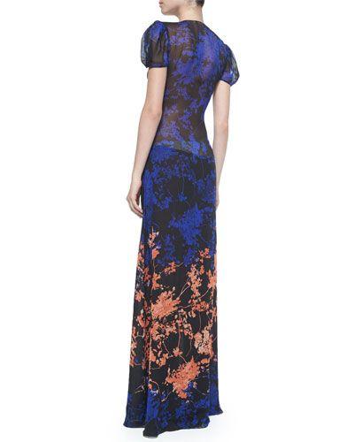 TANM3 Diane von Furstenberg Adrienne Twist-Front Floral Daze Maxi Dress, Black/Multicolor