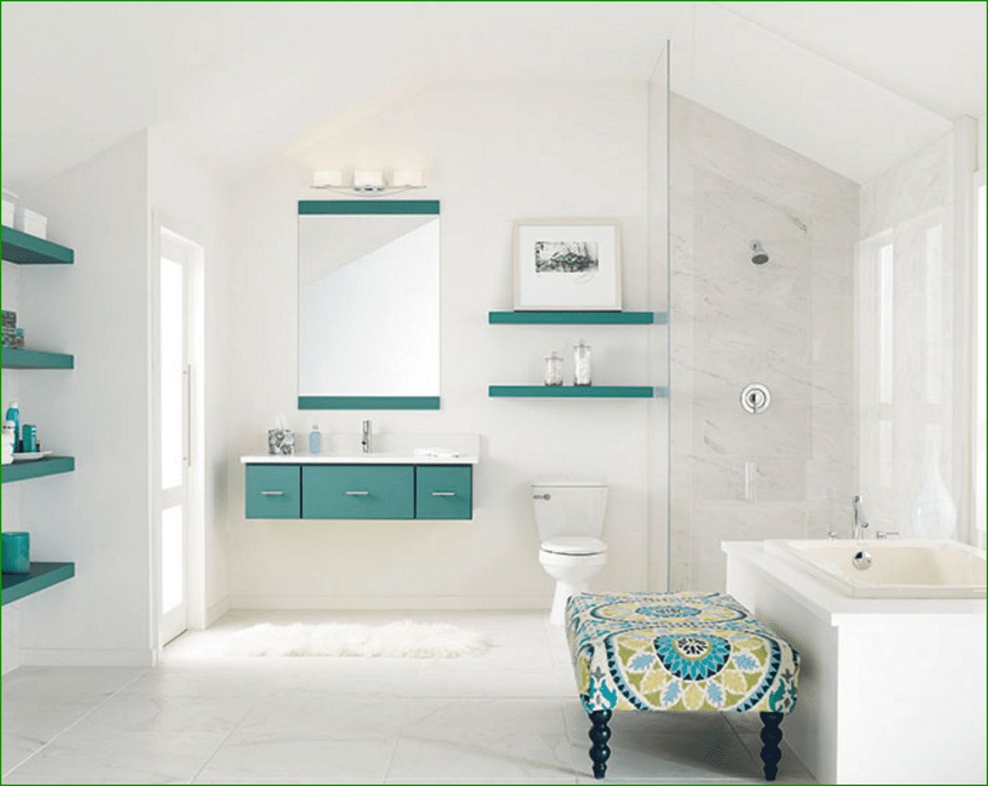 15 Secrets To Make Your Bathroom Look Expensive Teal Bathroom Accessories Stylish Bathroom Bathroom Colors [ 1102 x 1384 Pixel ]