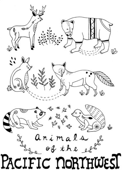 Animals of the Pacific Northwest Art Print by Brooke