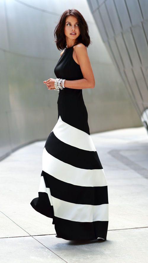Black Chevron Maxi Dress White Chiffon
