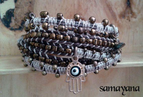Bracelet Varanasi 5 turns brown and beige gold plated by Samayana