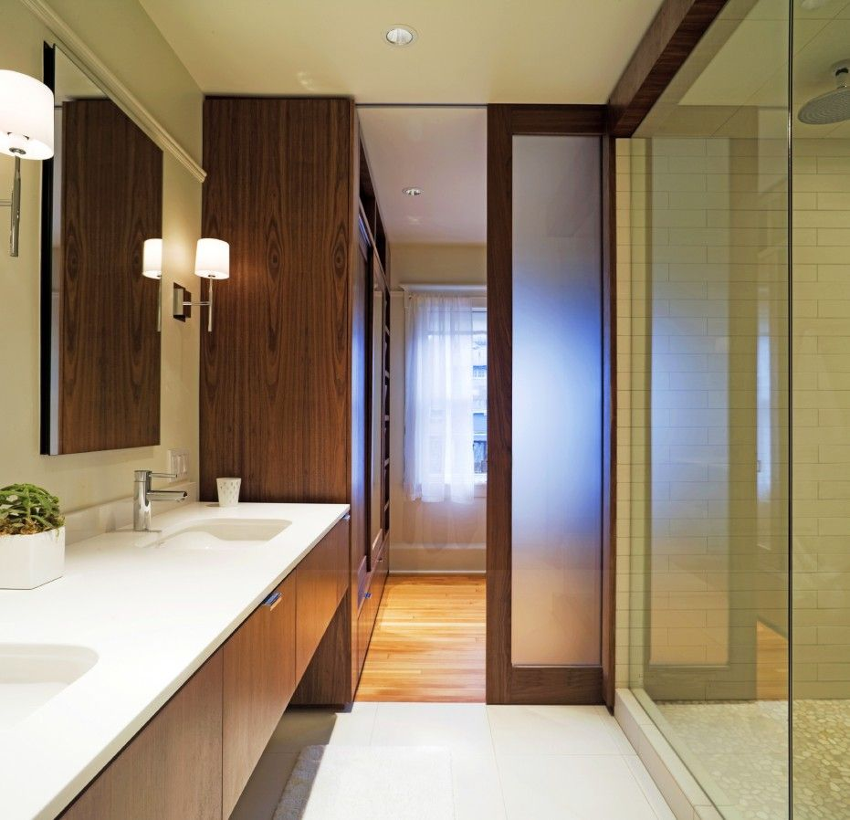 Inspiring Ideas For Excellent Wooden Pocket Doors Design Astonishing Bathroom Design With Modern White Washbasin And Exciting Wooden Vanity Also Remark Lazienka