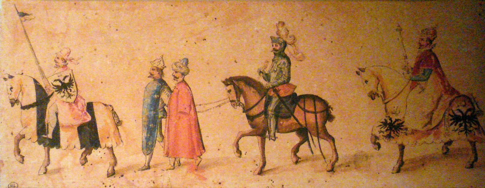 1525.The Emperor conducting the king of France and the Sultan as captives bound together Early 17th century charicature. Musee Ecouen.