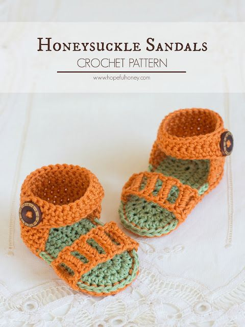 Honeysuckle Baby Sandals Crochet Pattern Crochet Pinterest