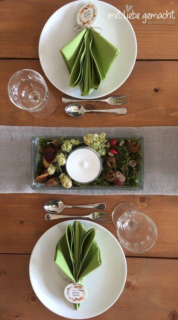 Herbstliche Tischdeko – Glasschale inkl. Herbstdeko und Kerze