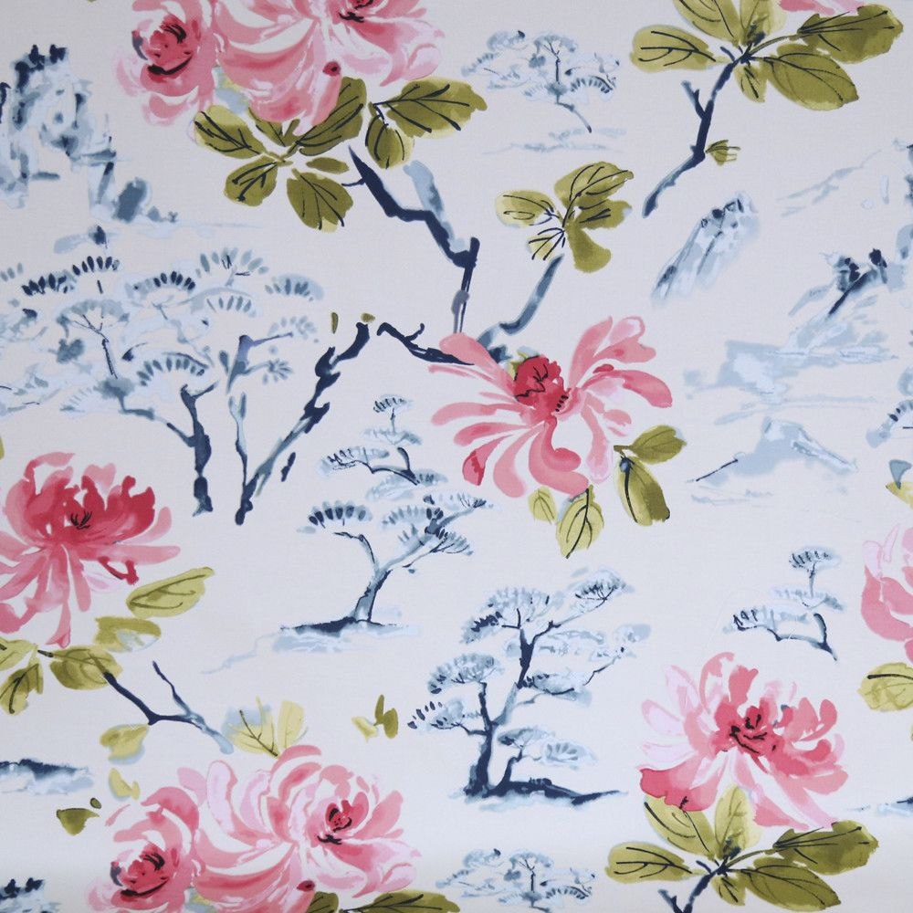 A beautifully exotic floral fabric with watermelon pink peonies ...