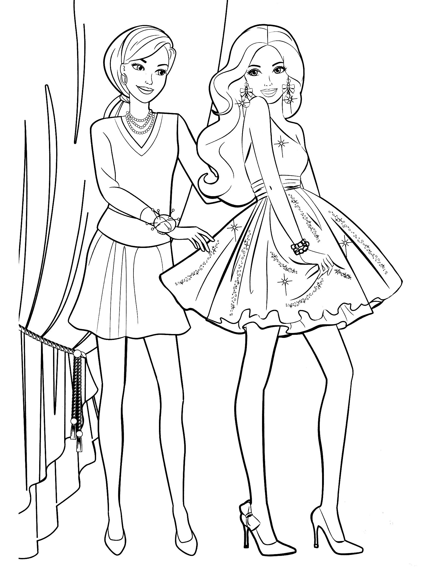 Barbie colouring in online free - Awesome Barbie Printable Coloring Pages For Kids Girls And Boys