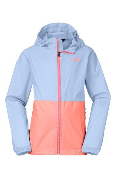 97195d344 The North Face 'Flurry' Colorblock Hooded Wind Jacket (Little Girls & Big  Girls) available at #Nordstrom