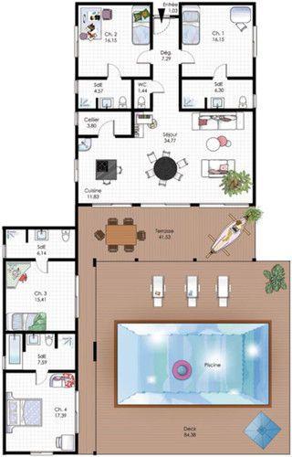 Maison familiale de plain-pied Architecture - faire un plan de maison gratuit