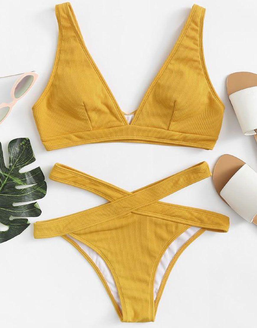 b6dd04128bcee Crisscross Solid Ribbed Knit Bikini Set