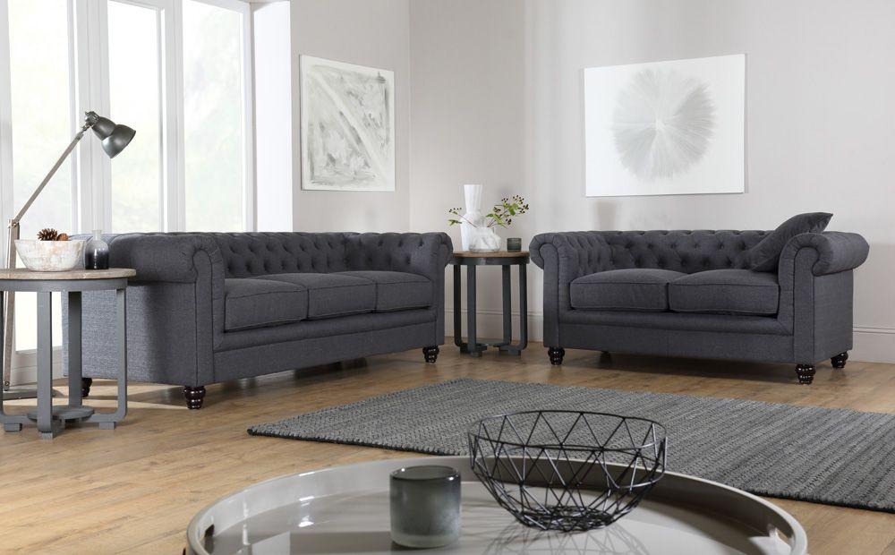 Hampton Slate Grey Fabric 3 Seater Chesterfield Sofa Grey Leather Sofa Sofa Sofa Furniture