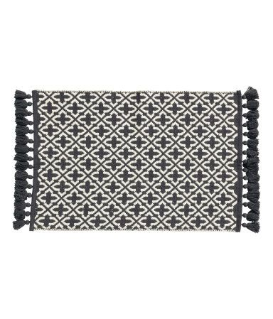 Charcoal Gray X2f Patterned Bath Mat In Jacquard Weave Cotton