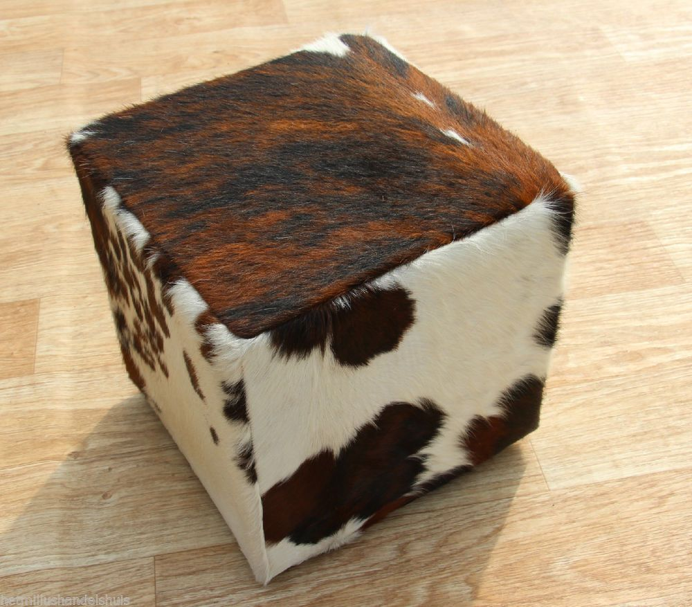 cowhide kuhfell koeienhuid pouf ottoman footstool poef. Black Bedroom Furniture Sets. Home Design Ideas