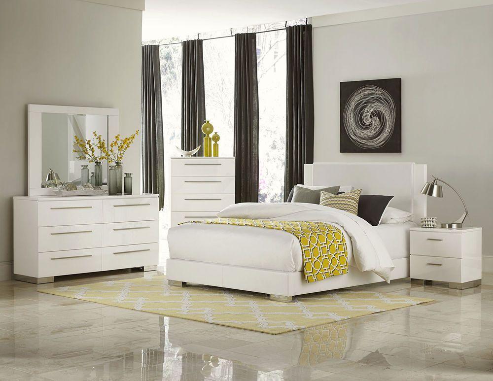 Best Blaine Ultra Modern 5Pcs Glossy White King Low Platform 400 x 300