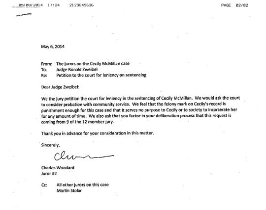 Cecily McMillan letter letters Pinterest - fresh legal letter to judge format