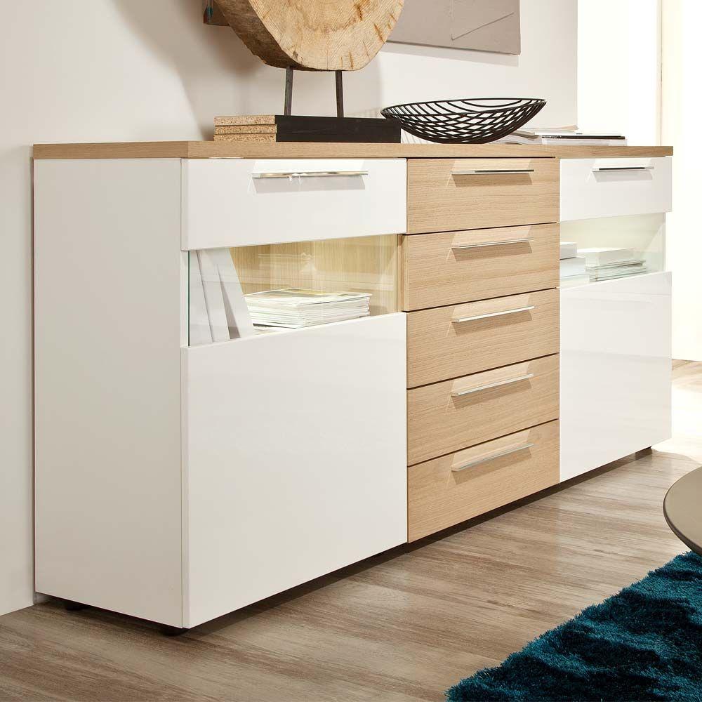 Wohnzimmer Sideboard In Weiss Hochglanz Eiche Bianco Glas Jetzt Bestellen Unter