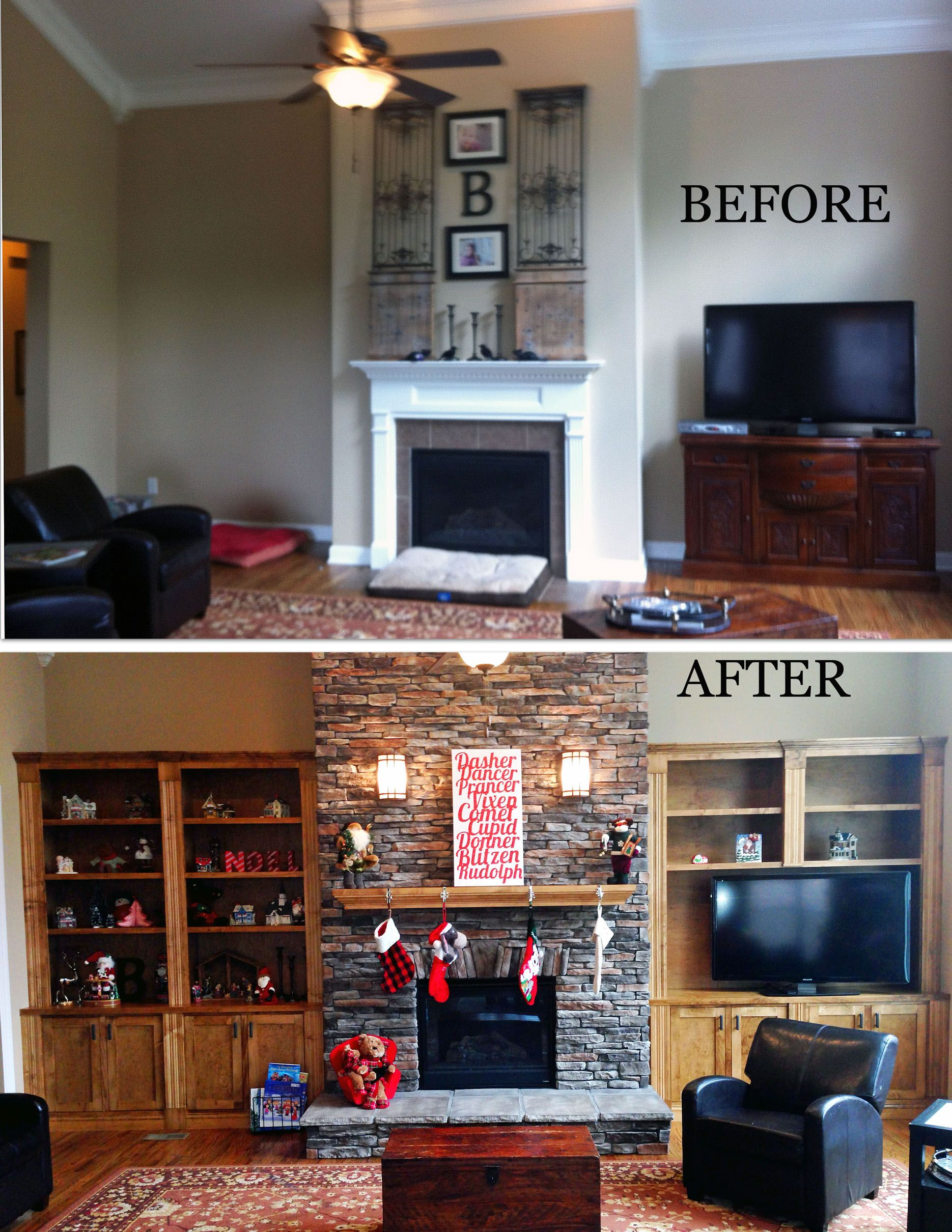 Home Makeovers fireplace remodel with built-in bookshelves | stock cabinets, base