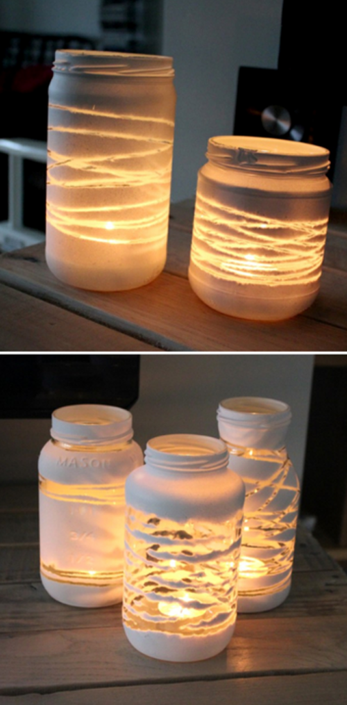 She Wrapped Her Empty Jars With Yarn And Then Put This Inside The Result Jaw Dropping Yarn Diy Painted Jars Candle Wrap