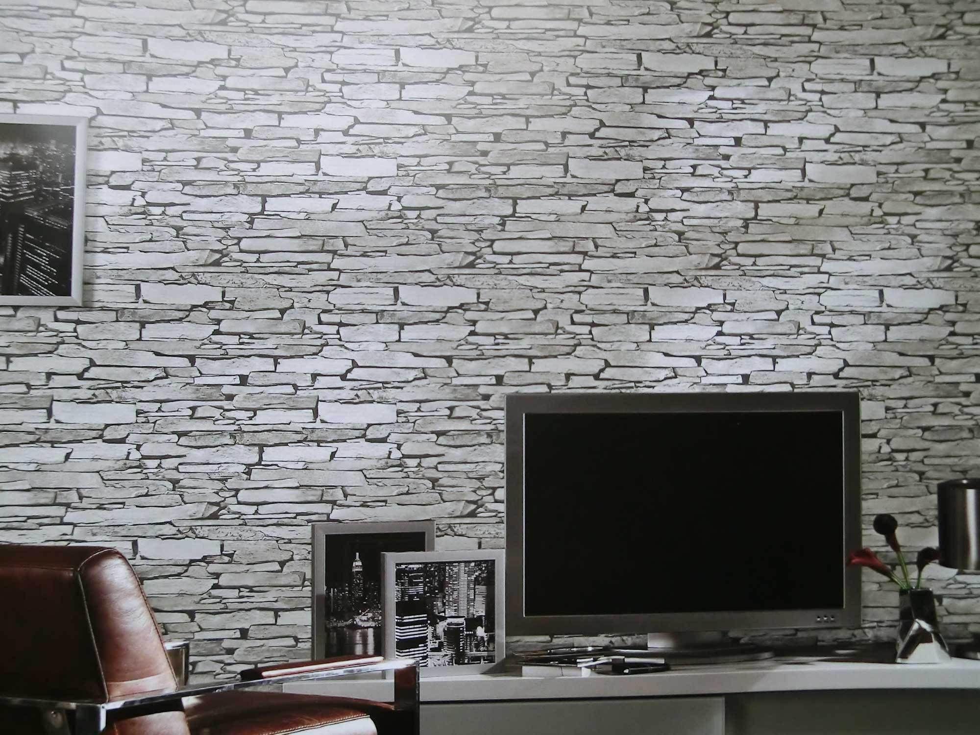 Stein Tapete Wohnzimmer Grau - Boisholz | einrichtung | Pinterest ...