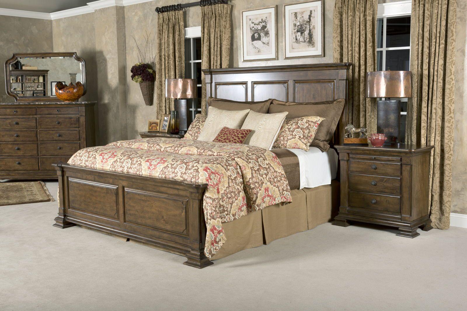 Kincaid Portolone Monteri Panel Bedroom Set In Rich Truffle Beds - Kincaid tuscano bedroom furniture