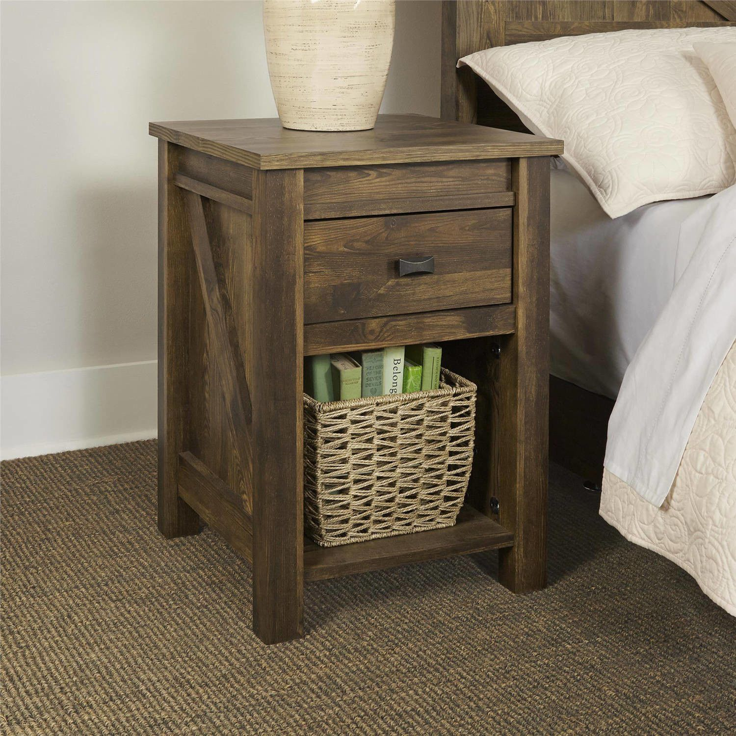 Rustic End Table Farmhouse Reclaimed Barn Wood Accent Nightstand