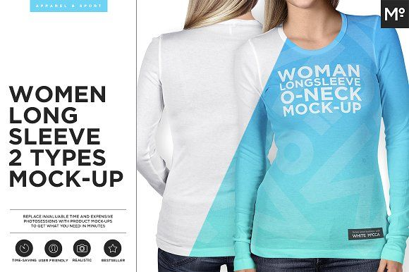 Download Women Longsleeve 2 Types Mock Up Shirt Mockup Mockup Long Sleeve