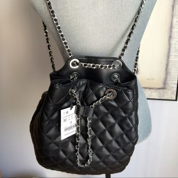 Zara Black Chain Backpack | Zara black, Black quilt and Backpacks : quilted rucksack zara - Adamdwight.com