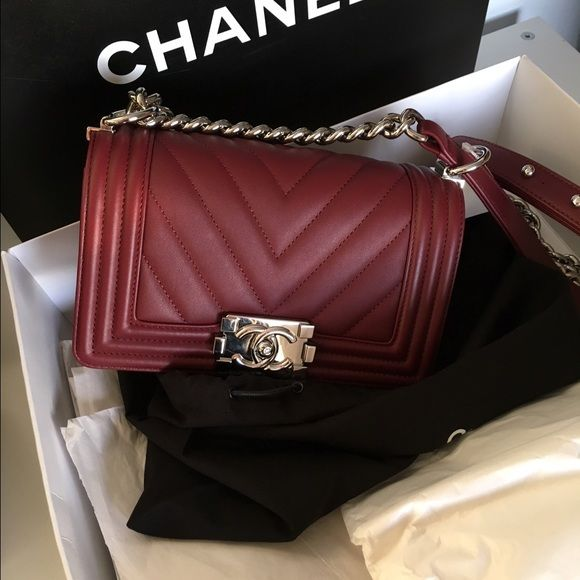 Chanel Small Boy Flap Chevron Burgundy Bag Brand Chanel