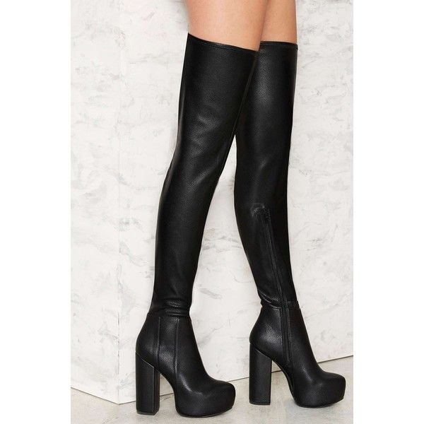 Jeffrey Campbell Bedelia Caviar Thigh-High Boot (£120) ❤ liked on Polyvore featuring shoes, boots, black, black high heel boots, over-the-knee high-heel boots, black boots, over the knee thigh high boots and jeffrey campbell boots