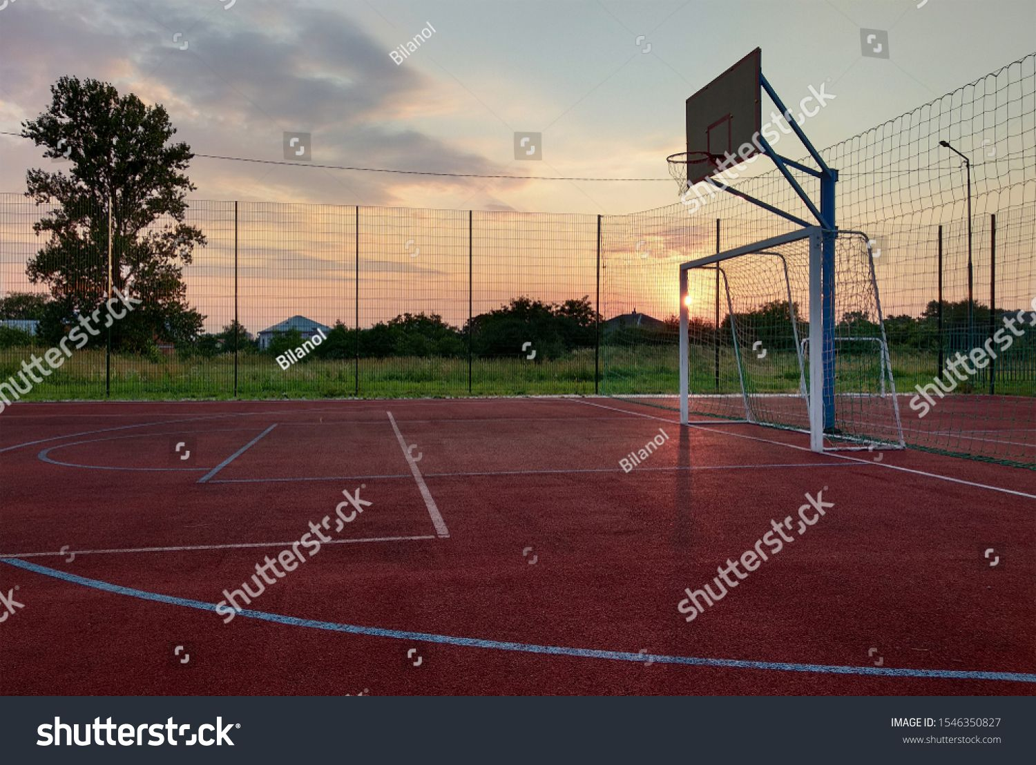 Outdoors Mini Football And Basketball Court With Ball Gate And Basket Surrounded With High Protective Fence Ad Football And Basketball Mini Footballs Outdoor