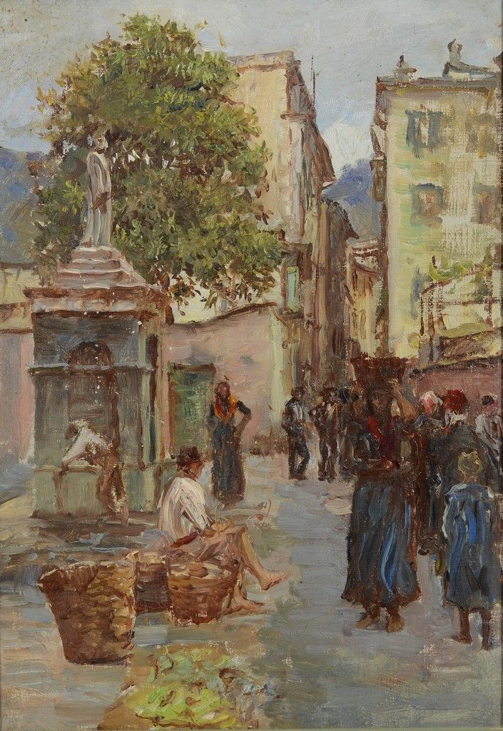 """""""Rapallo, Italy,"""" Anna Richards Brewster, oil on canvas, 12 3/4 x 9"""", private collection."""