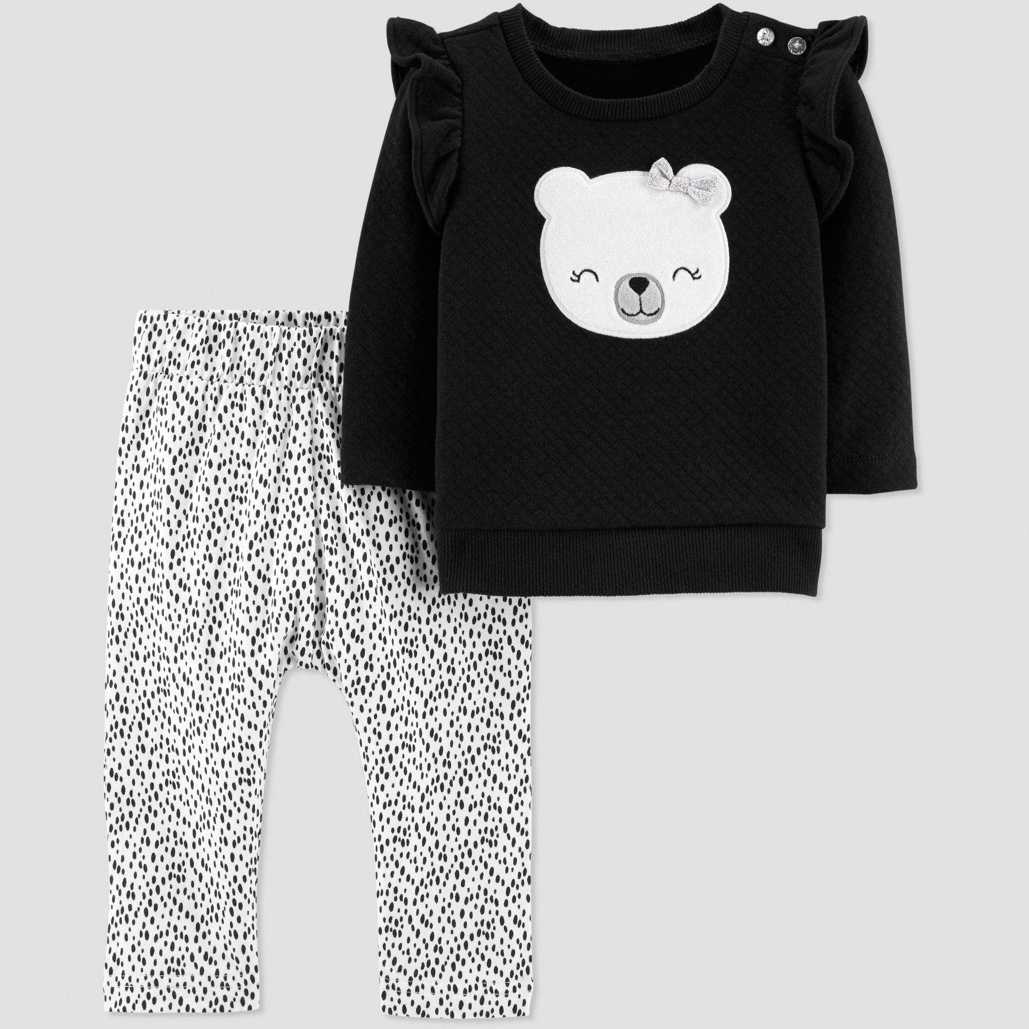 9569f36b9c8 Baby Girls  2pc Quilted Ruffle Panda Set - Just One You made by carter s  Black White 6M