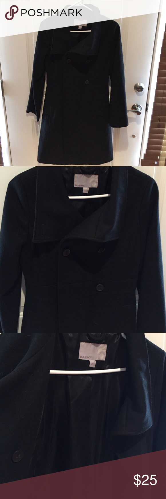 Women's old navy wool coat Black wool jacket. Lightly worn to work, I have a new jacket and this doesn't get much attention anymore. Lined! Old Navy Jackets & Coats Trench Coats