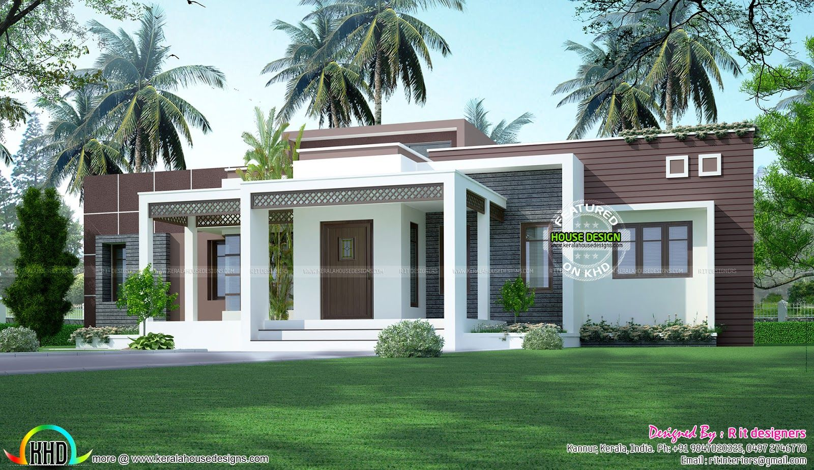 1775 sq ft flat roof one floor home exteriors bungalow - Single story 4 bedroom modern house plans ...