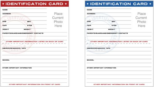 Printable Child Id Cards Templates Free Templates