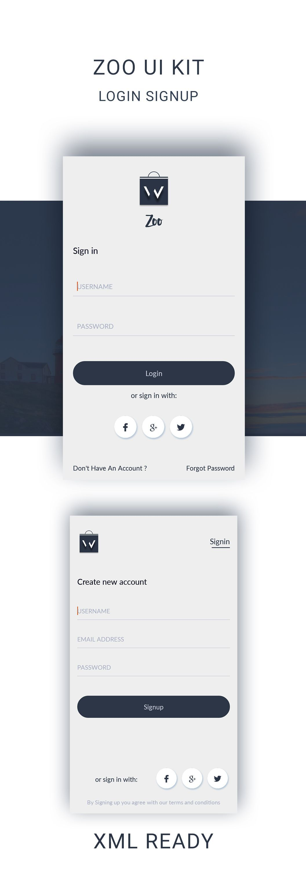 download LOGIN SIGNUP UI KIT, Ready XML files to import in