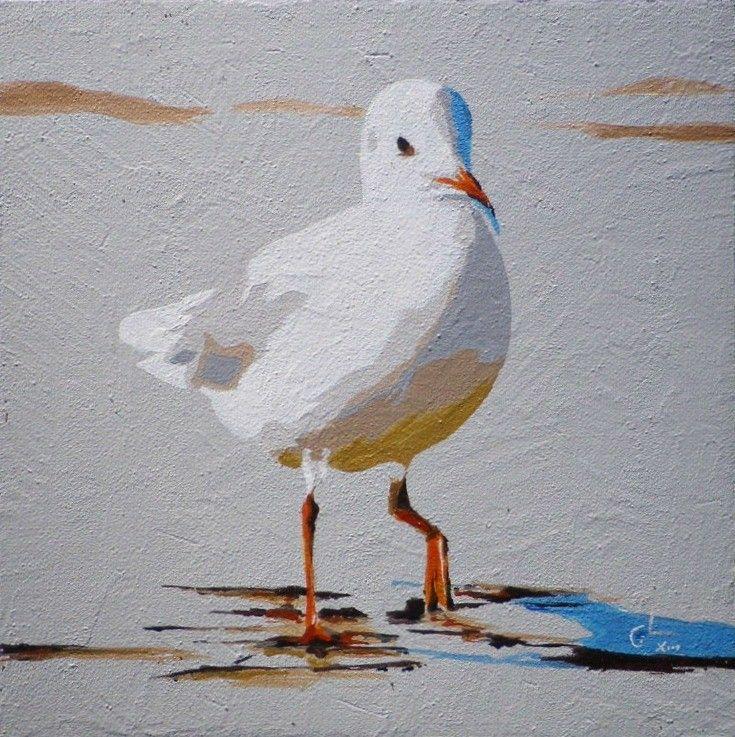Mouette peinture 20x20 cm par g raldine limon mouette - Dessins de mouettes ...
