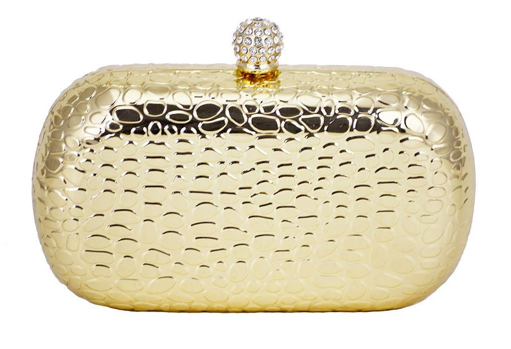 c25e32ab4 Clutch Dourada Crocodilo. Bolsa de festa com textura e rígida, detalhes em  mini cristais.