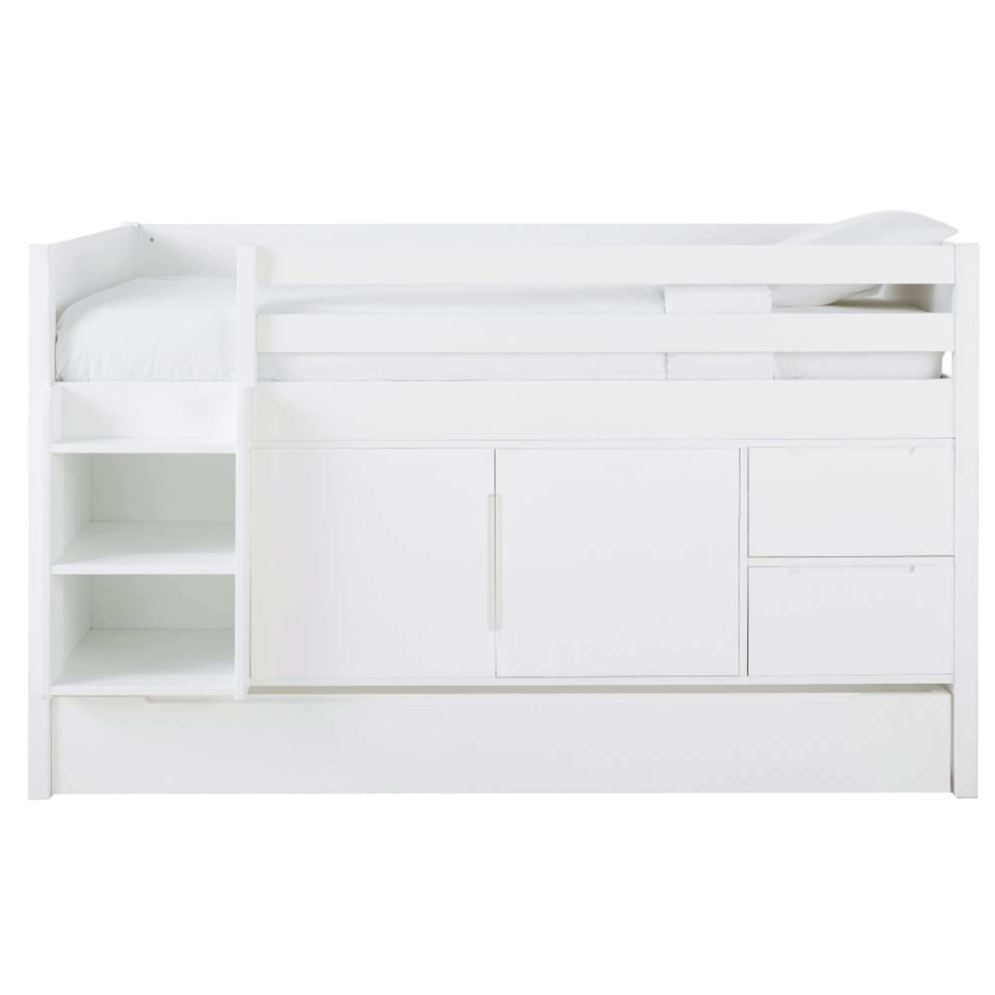 Lit Sureleve Combine 90x190 Blanc Maisons Du Monde En 2020 Maison Du Monde Espaces De Stockage Rangement Hauteur
