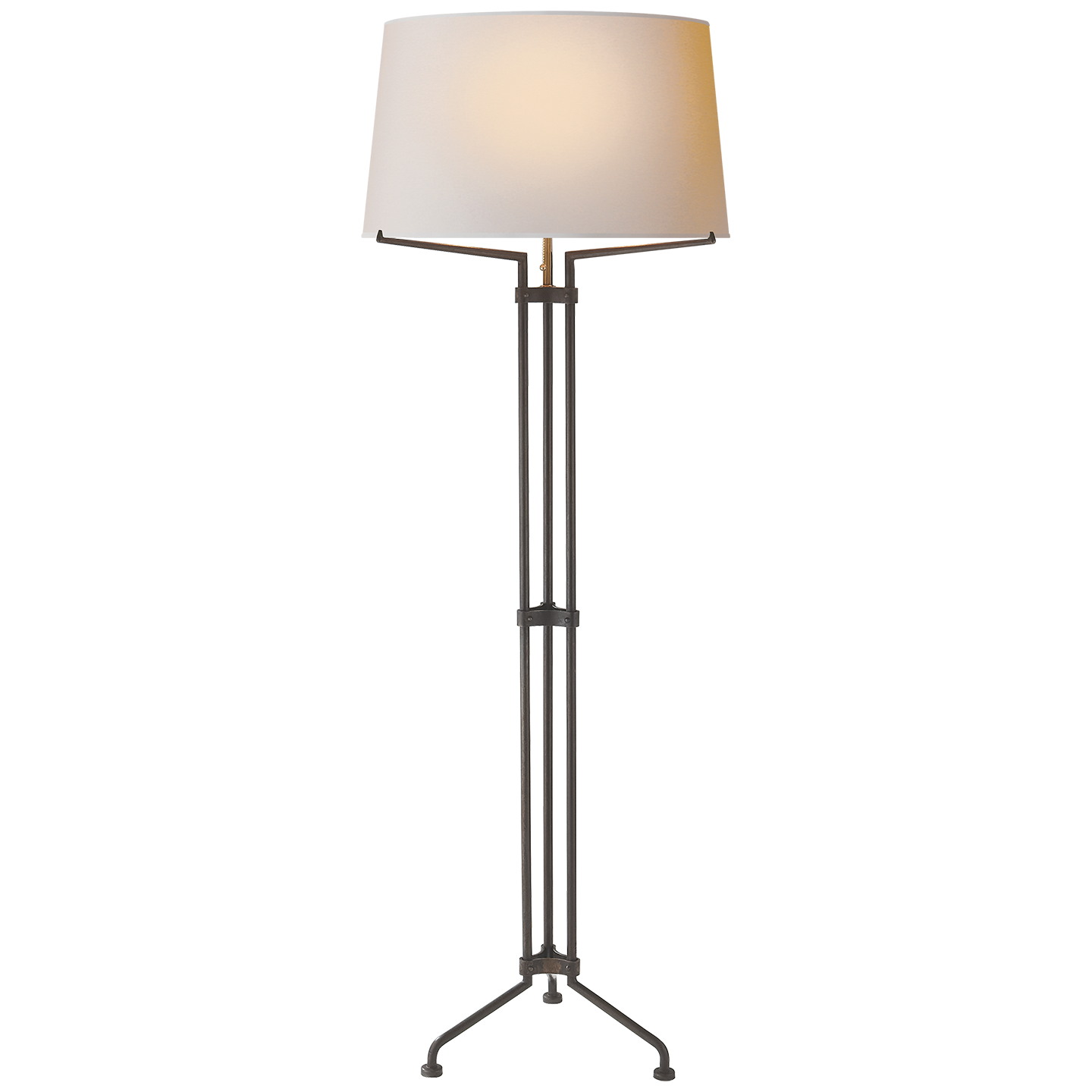 Terrazo Tri Leg Floor Lamp In Aged Iron With Natural Paper