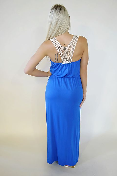 Crochet back maxi dress with cinched waist. Royal Blue
